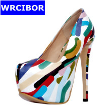 Big size 34-47 NEW 2017 Women Shoes PU leather platform pointed toe High heels Lady fashion Print flower Sexy Thin Heels Pumps