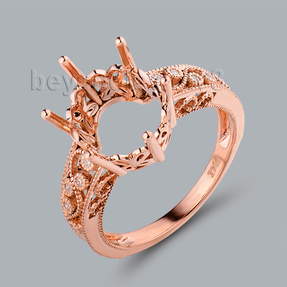 Customized 14Kt Rose Gold Natural SI Clarity Diamond 10x12mm Ring Mountings For Oval Sto ...