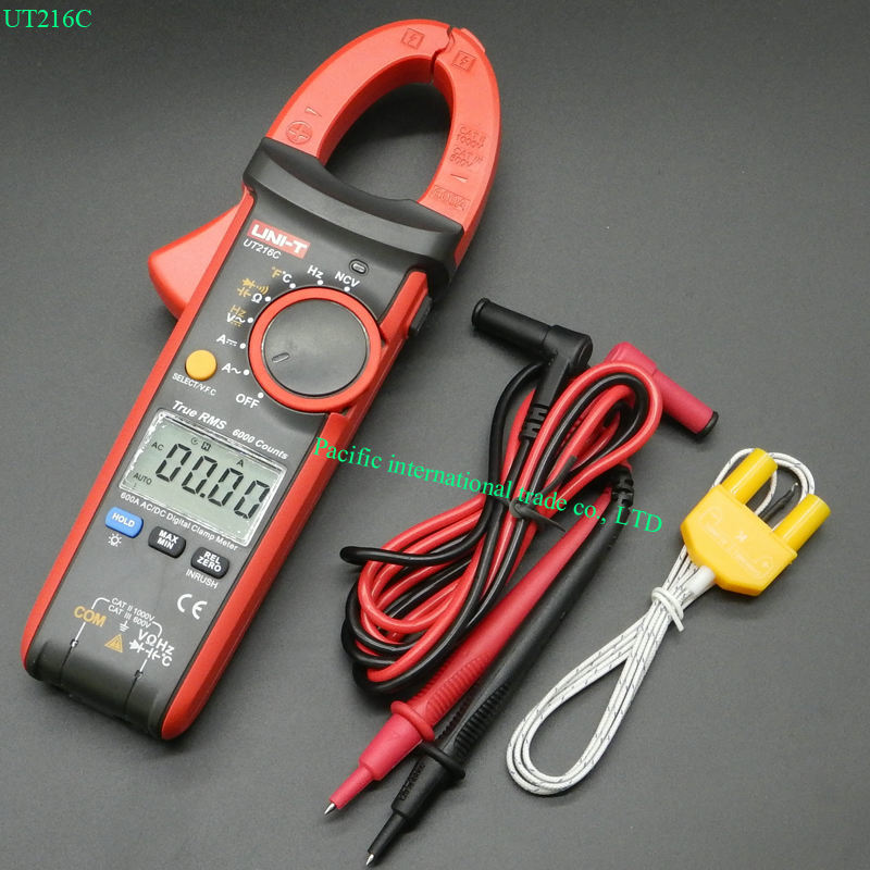 UNI-T UT216C 600A True RMS Digital Clamp Meters Auto Range w/Frequency Capacitance Temperature NCV Test uni t ut70b lcd digital multimeter auto range frequency conductance logic test transistor temperature analog display