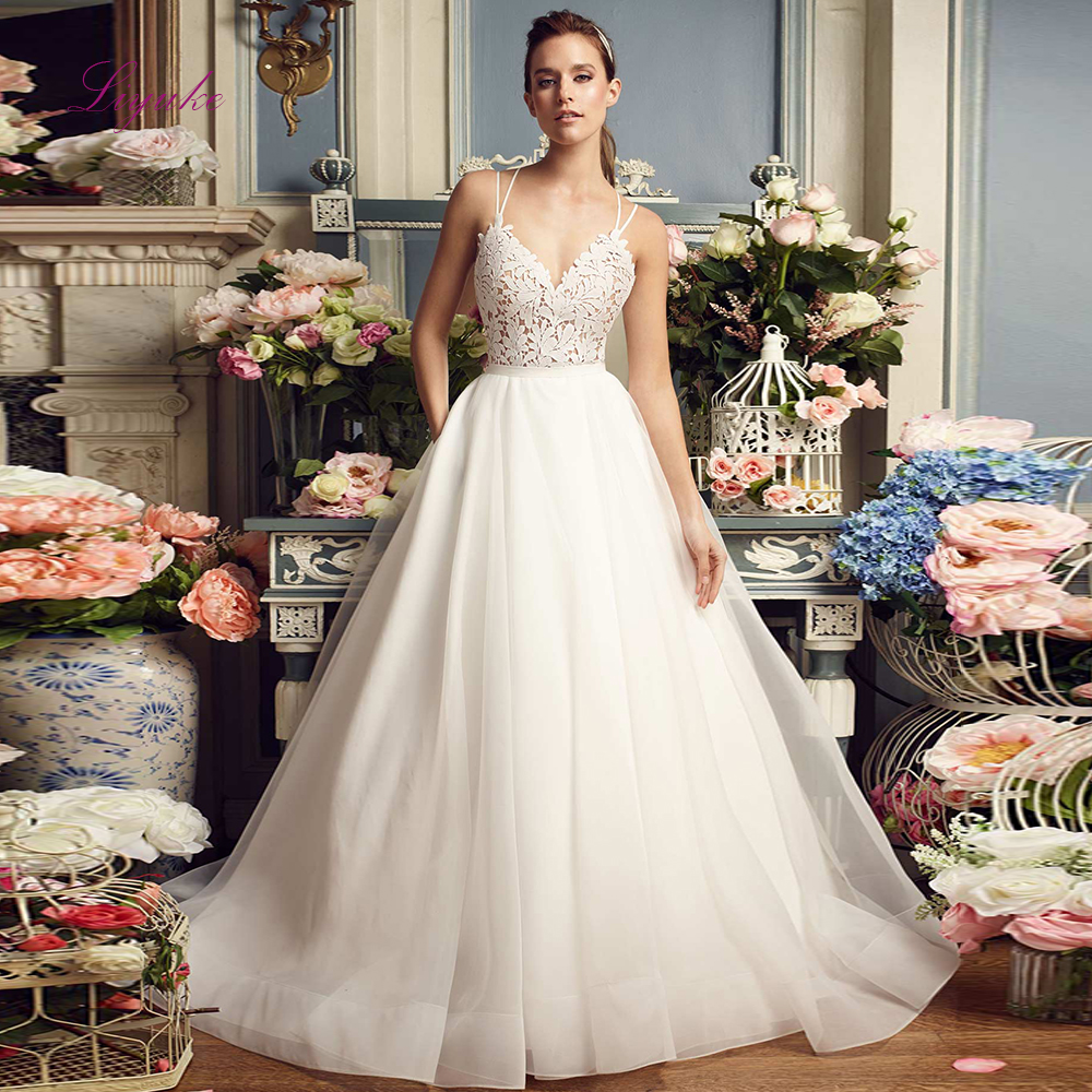 Wedding Ball Gowns With Straps: Liyuke Bridal Wedding Dress Ball Gown Lace Appliques