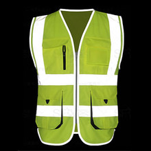 High Visibility Reflective Safety Vest Reflective Vest Multi Pockets Workwear Safety Waistcoat Free Shipping ID Pocket(China)