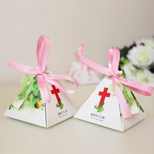 100pcs Jesus Christian Cross Triangular Pyramid Candy Box Wedding
