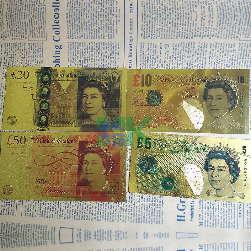 20set 80pcs United Kingdom Pound Colorful Gold Foil Plated Uk Banknote For Collection Golden Fake Money Gift In Banknotes From Home