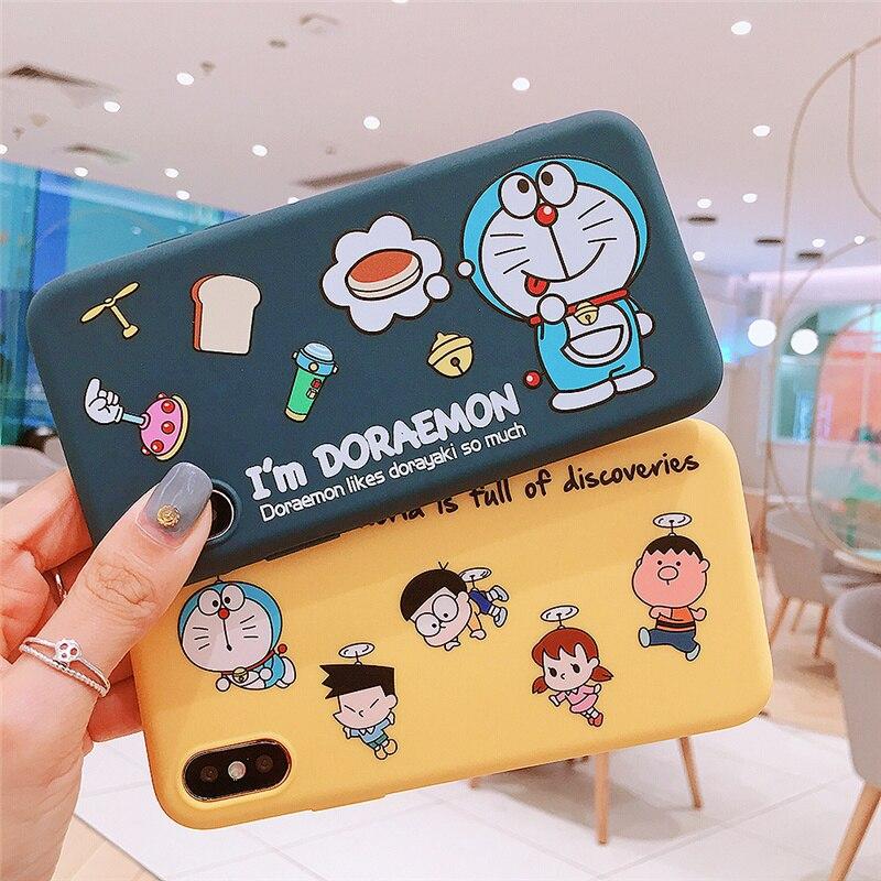 100 шт. Симпатичные Doraemon мягкий силиконовый чехол из ТПУ для Apple iPhone X XR XS Max 8 7 6 6 S плюс Кот чехол для телефона Обложка сумка