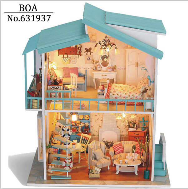 Diy Doll house Model Building Kits Wooden Dollhouse Miniature Handmade Assembled Christmas Birthday Gift Toy-Cradle On The Beach new arrive diy doll house model building kits 3d handmade wooden miniature dollhouse toy christmas birthday greative gift