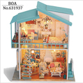 Diy Doll house Model Building Kits Wooden Dollhouse Miniature Handmade Assembled Christmas Birthday Gift Toy-Cradle On The Beach