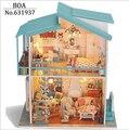 Diy Doll house Modelo de Construção Kits de Casa De Bonecas Em Miniatura De Madeira Artesanal Montado Presente de Aniversário de Natal Toy-Berço Na Praia