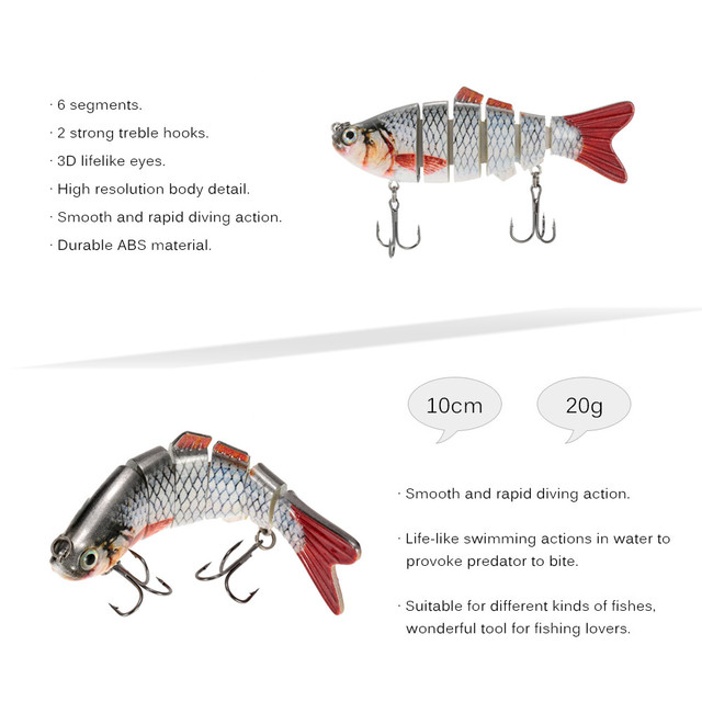 Lixada 10cm 20g Wobblers Fishing Lure 6 Segment Crankbait Swimbait Fish Lure Isca Artificial Bait With Hook Fishing Tackle Pesca