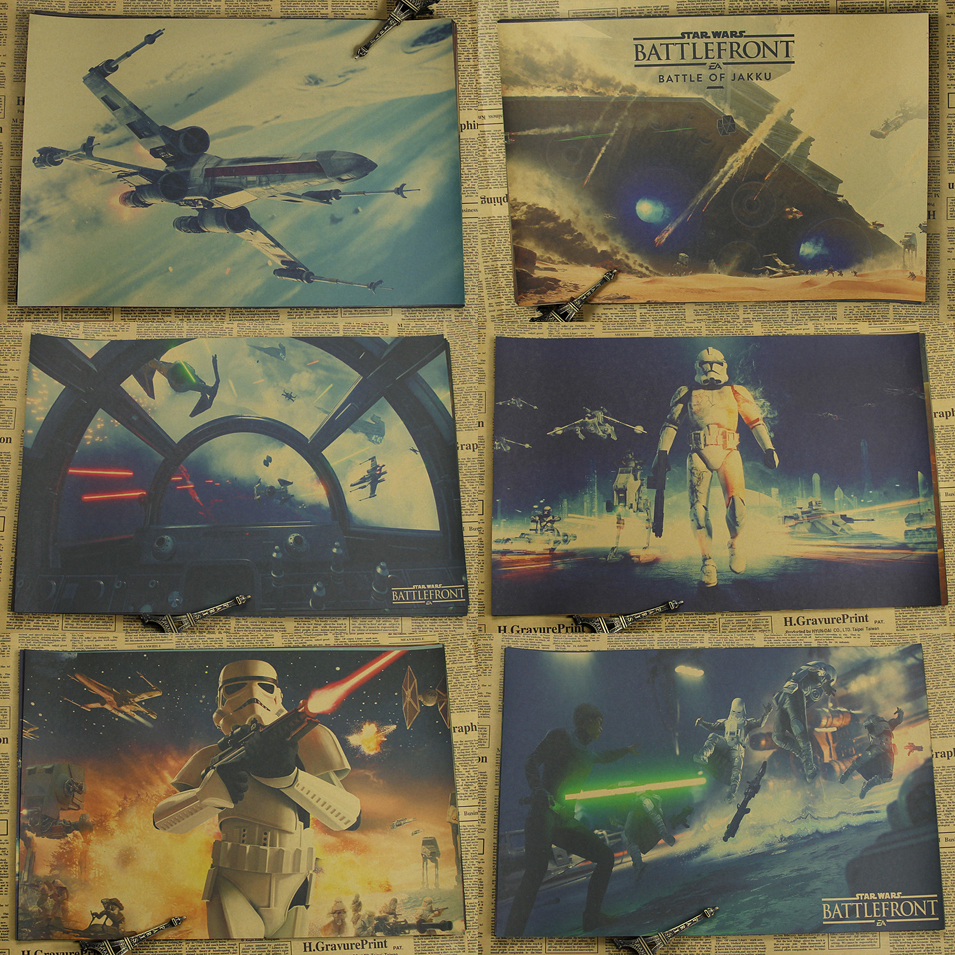 Star Wars:Battlefront Jedi Knight Game Movie Poster Home Furnishing decoration Kraft Game Poster Drawing core Wall stickers