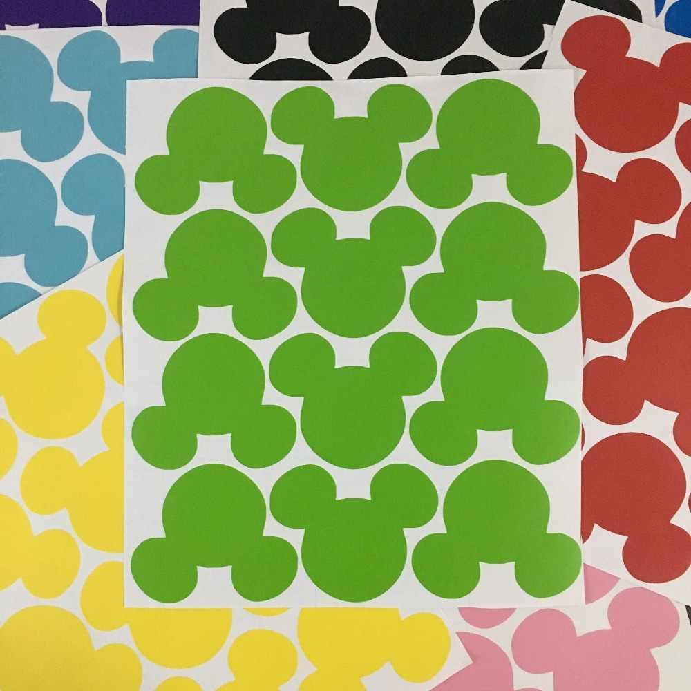 12 pz Del Fumetto Sveglio di Mickey Mouse Testa a Forma di Adesivi Da Muro Per Bambini Camere Poster Lavagna Etichette Sigillo Della Busta Della Parete Del Vinile decalcomanie