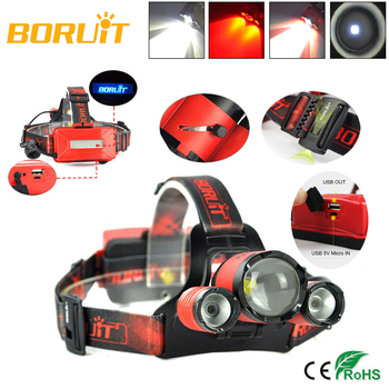 BORUIT B22 Rechargeable Zoomable Headlamp XM-L2+2X XPE 4-Mode Red LED Zoom Power Bank Hunting Micro USB Headlight Head torch