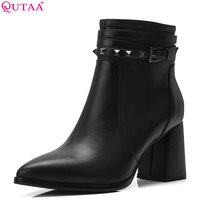 QUTAA 2019 Women Ankle Boots Casual Winter Shoes Platform Cow Leather+pu All Match Women Motorcycle Boots Big Size 34 39