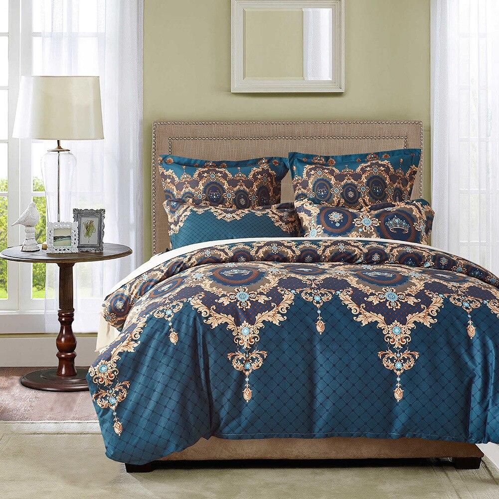 Permalink to Bedding Set Bohemian Bed Duvet Cover Set Luxury European Comforter Bedding Sets Floral Pattern Reversible Bedding Set King Size
