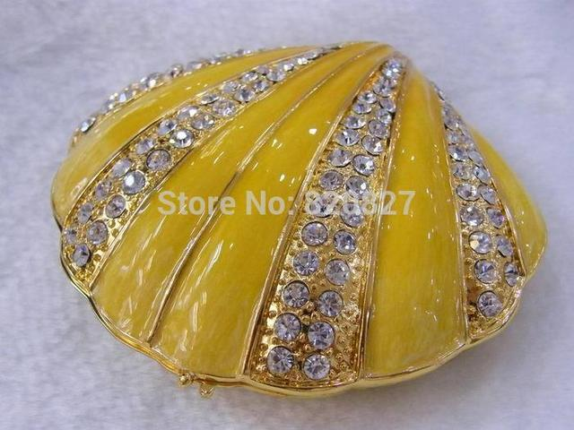 handmade shell ring jewelry boxes metal seashell jewelry box for a