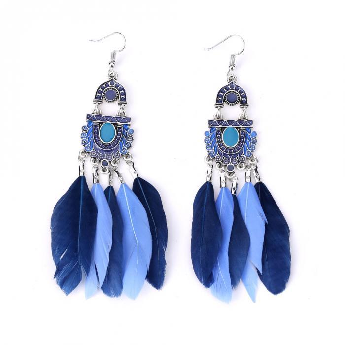 Bohemian Long Feather Tassel Earrings - Fashionist207