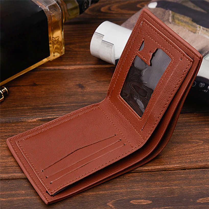 Aelicy men vintage negócios lichee padrão couro multi posição do cartão carteira sólida curto bifold titular do cartão de crédito purse0