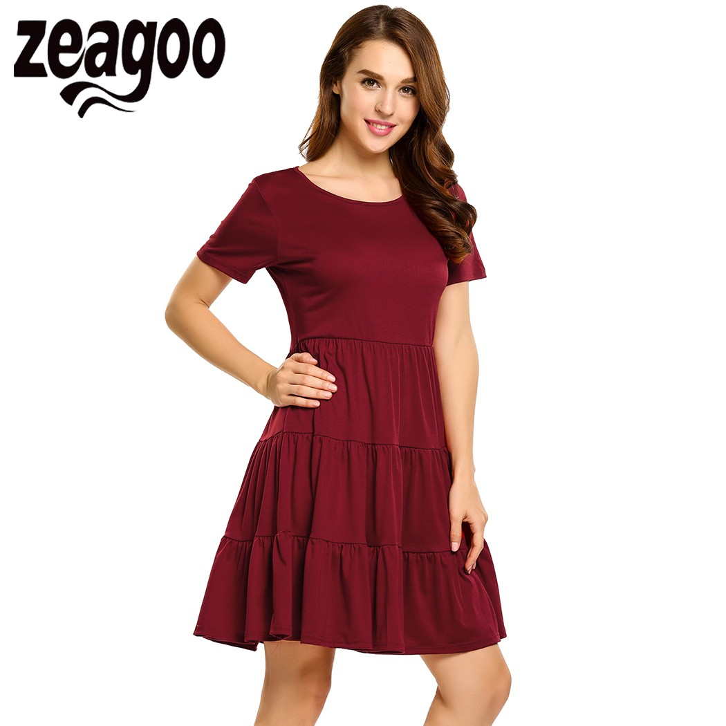 Zeagoo Women Round Collar Short Sleeve Solid Casual Multi-Tiered Dress 2017 Summer Autumn Desses Party Above Knee Dress vestidos