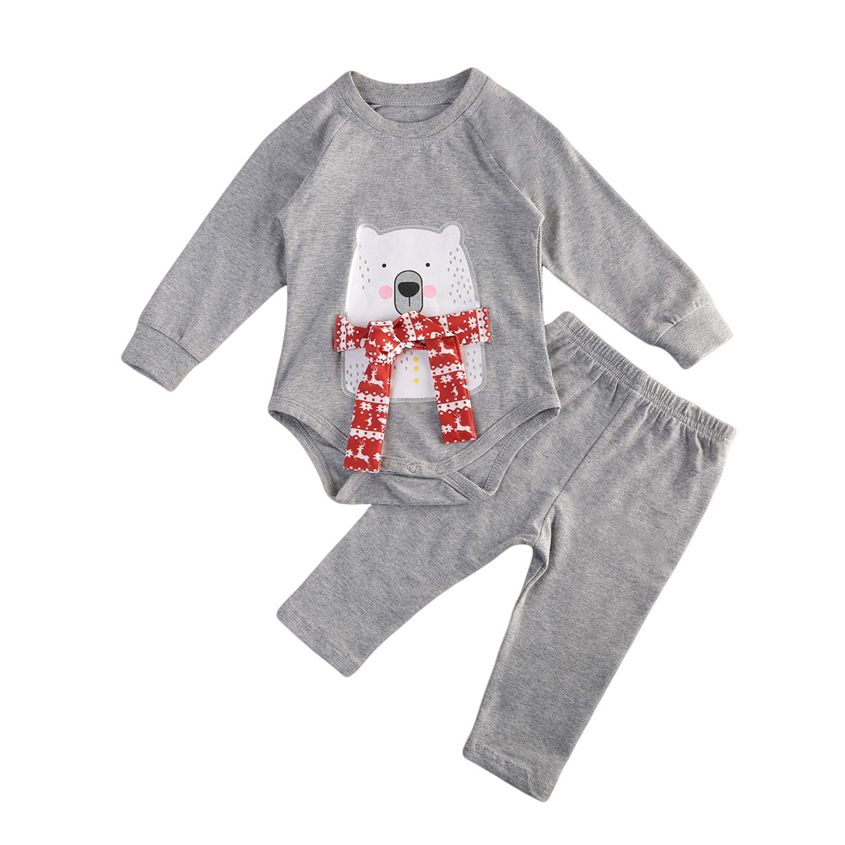 Cute Newborn Baby Cartoon Clothing Sets Boys Girls Christmas Clothes Tops Romper Pants 2PCS Fashion Long Sleeve Outfits puseky 2017 infant romper baby boys girls jumpsuit newborn bebe clothing hooded toddler baby clothes cute panda romper costumes