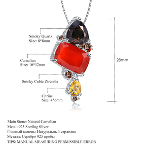 Image 4 - GEMS BALLET Natural Carnalian Gemstone Fine Jewelry 925 Sterling Silver Handmade Candy Red Agate Pendant Necklace For Women