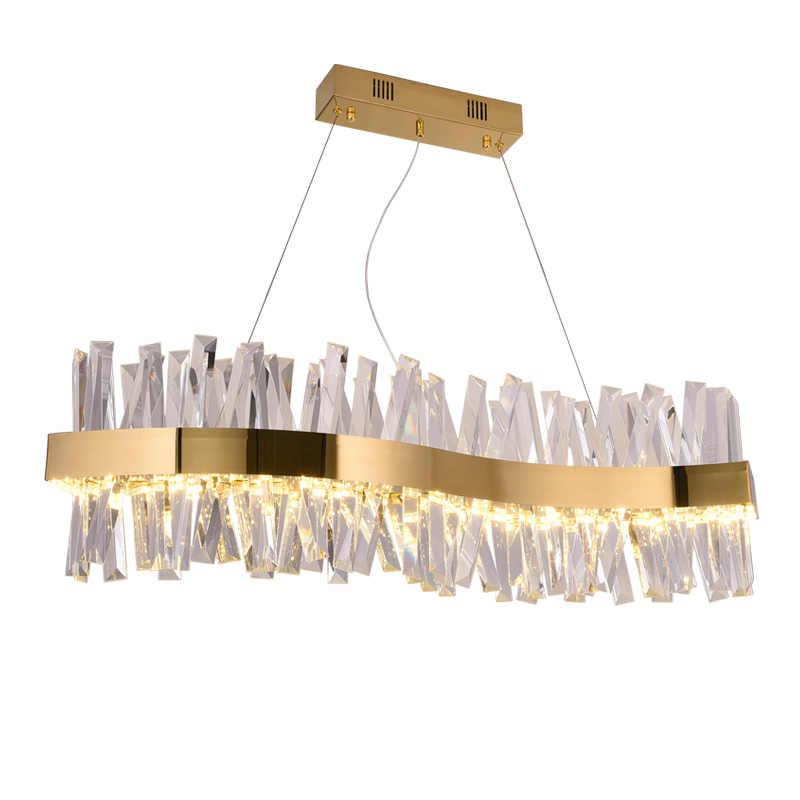 Скандинавская хрустальная люстра прямоугольный ресторанный светильник s-образная Роскошная декоративная лампа для бара