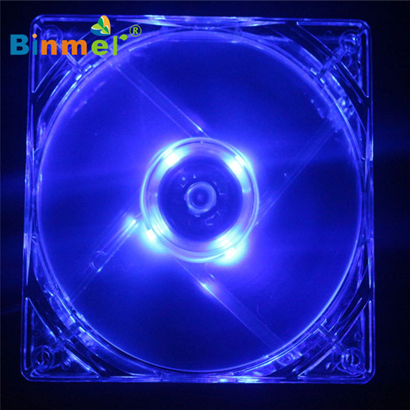 Hot-sale BINMER Computer Fan 140*140mm 4 Pin Blue Quad 4-LED Light Neon Clear PC Computer Case Cooling Fan Mod наземный уличный светильник brilliant chorus 43699 82
