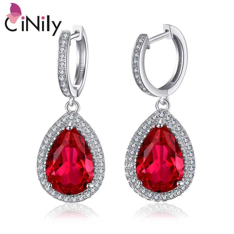 CiNily Authentic. Solid 925 Sterling Silver Created Red Ruby Fine Jewelry for Women Wedding Engagement Drop Earrings SE034