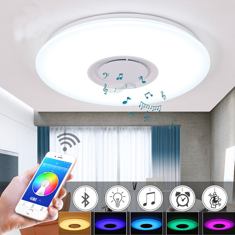 Hospitable 36w App Rgb Control Music Led Bluetooth Ceiling Light With Speaker 6500k Led Ceiling Lamp El Techo Luz For Living Room Bedroom