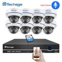 Techage 8CH 1080 P CCTV безопасности Системы 1080 P 2MP POE NVR Kit аудио запись Купол Крытый POE IP Камера P2P видео набор для наблюдения