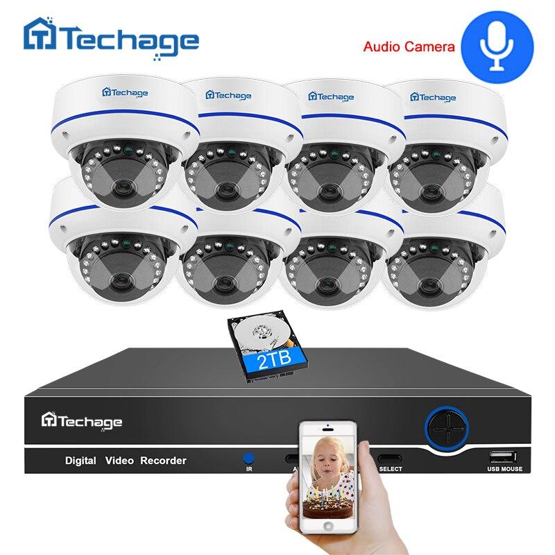 Techage 8CH CCTV Système de Sécurité 1080 P 2MP POE NVR Kit Enregistrement Audio Dôme Intérieur POE IP Caméra P2P Vidéo ensemble de Surveillance 3 TO HDD