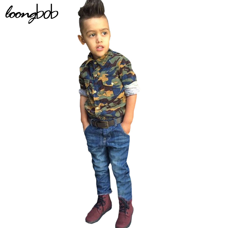 New baby boy fashion clothes 2pcs kids clothing set camouflage long sleeve shirt + jeans children autumn tracksuit 241F infant clothes set baby boy clothes white long sleeve shirt gray vest pant 2pcs set new born baby boy clothing set baby suits
