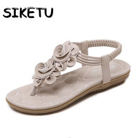 SIKETU Women Shoes 2017 Summer New Roman Style Sweet Casual Sandals Clip Toe Floating Charms Flowers