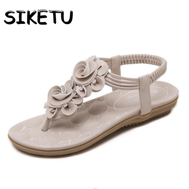 c68cd09d09 SIKETU Bohemia Flats Sandals Women Sweet Casual Sandals Clip Toe Floating  Charms Flowers Summer New Roman Style Shoes Woman