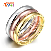 2017 AMGJ Three Fashion Silver Rose Gold Plated Round Stainless Steel Knuckles Wedding Rings Set Men