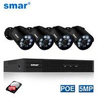 Smar H.265 5MP 2592*1944 Surveillance CCTV System 48V PoE 4CH NVR Kit 5MP Bullet IP Camera Waterproof Outdoor CCTV Camera System