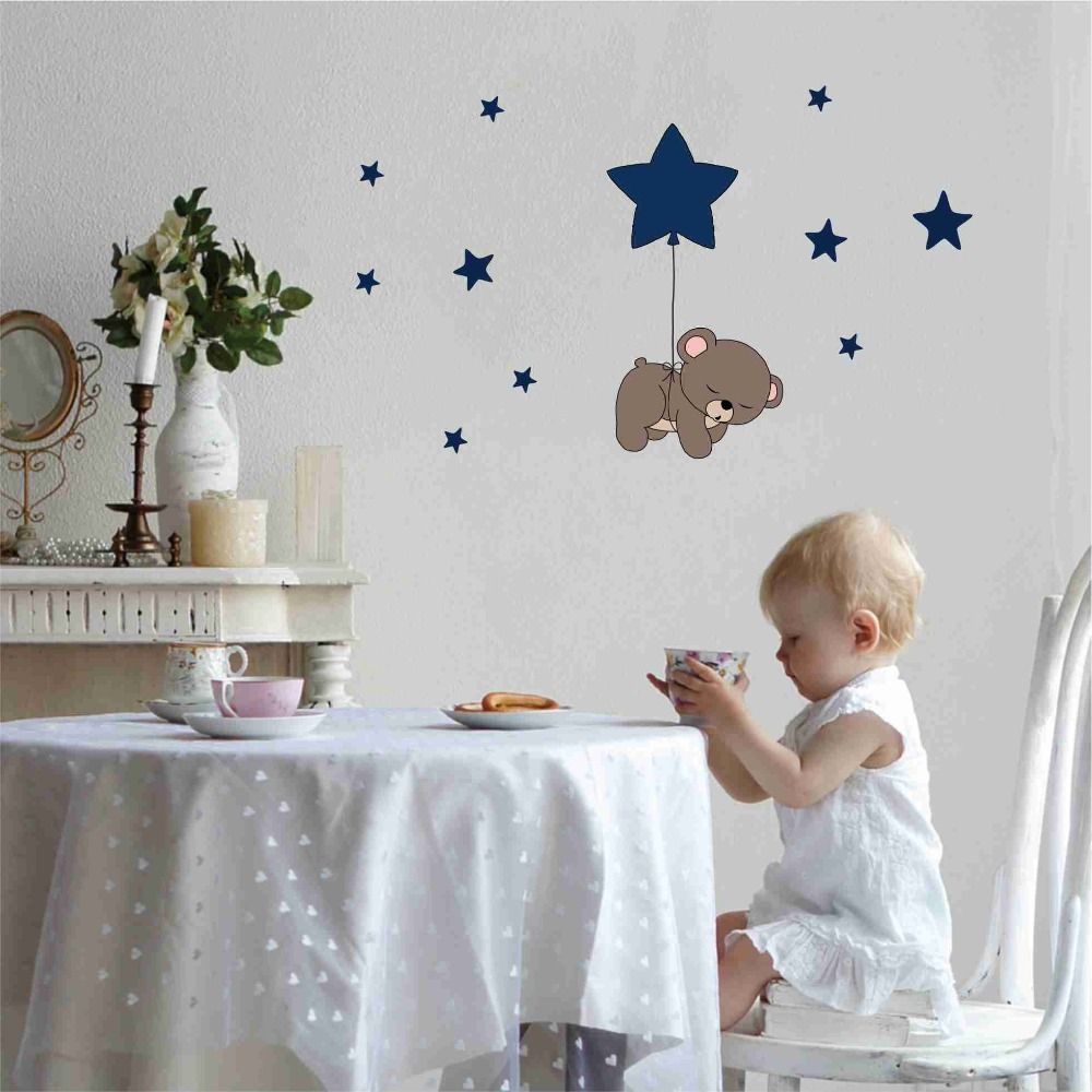 Cute cartoon bear Nursery Wall Stickers funny lovely Animals wallpaper Home Decor for Kids Room Baby room bedroom wallpaper (2)