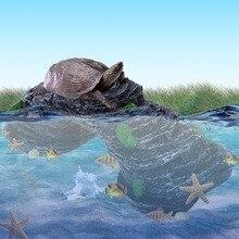 Aquarium Resin Bridge Landscape Tortoise Fish Tank Ornaments Underwater Decor Stone Is Land Background