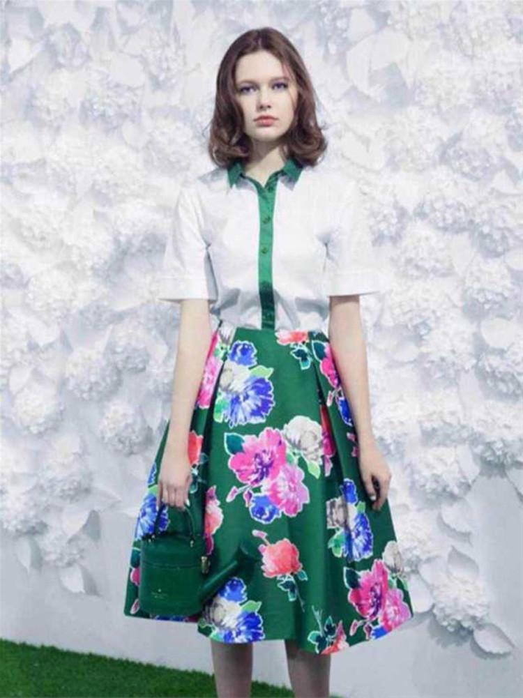 Flower Print Green Skirt White Blouse Suits for Women (1)
