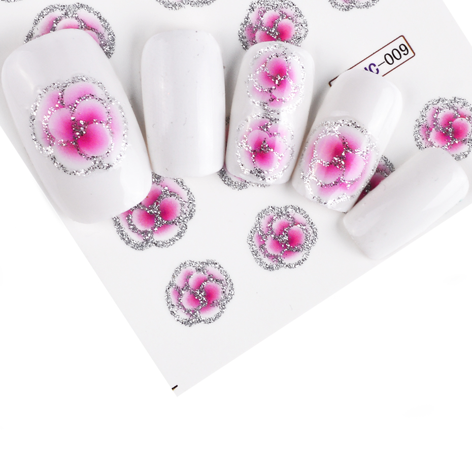 Image 4 - Full Beauty 55pcs Flower Glitter Nail Sticker Water Transfer Decal Decoration DIY Adhesive Tips Manicure Nail Art Decals CHBJC55-in Stickers & Decals from Beauty & Health