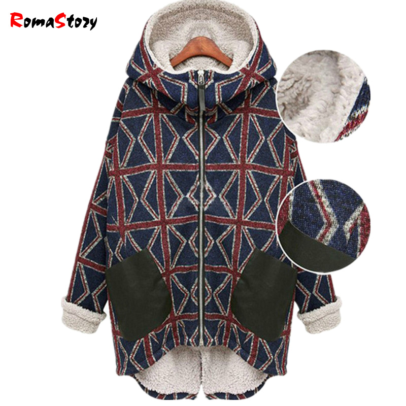 New Europe and America Autumn winter Printed irregular thick Coats large size plus velvet jacket warm coat Women Padded Z2396