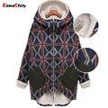 Nova Europa e América Do Outono inverno Impresso irregular grosso Coats tamanho grande além de veludo casaco quente casaco Acolchoado Mulheres Z2396