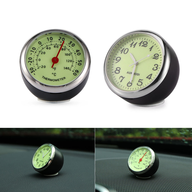 Onever Car Dashboard Clock Thermometer Luminous Stick On Temperature Gauge No Battery Needed