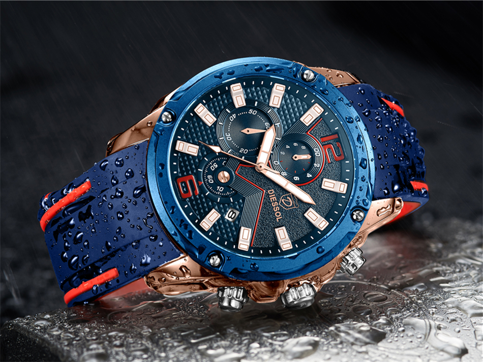 DIESSOL Men's Fashion Sports Quartz Watch Mens Watches Top Brand Luxury Rubber Band Waterproof Business Watch Relogio Masculino 18