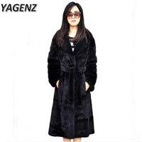 YAGENZ2017 6XL גודל Plue מעיל חורף נשים פו הפרווה מעיל שחור גברת חמה עבה מעיל נשי רזה הלבשה עליונה ארוכה פו הפרווה מינק
