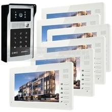 7 pulgadas 1024×600 Pantalla de ALTA DEFINICIÓN TFT LCD Video de La Puerta Teléfono Buildin Lector de RFID + Contraseña Puerta de Intercomunicación de vídeo HD de La Cámara 1 V 6