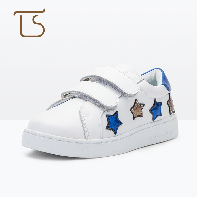 T.S. kids shoes Children 's  spring and autumn star fashion hook loop children' s casual shoes anti slip kids sports shoes white