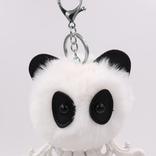 2017 Fur Pom Kitten Keychain Fake Panda fur ball key chain pompom de fourrure pompon Bag Charms Bear keychain Keyring Gift