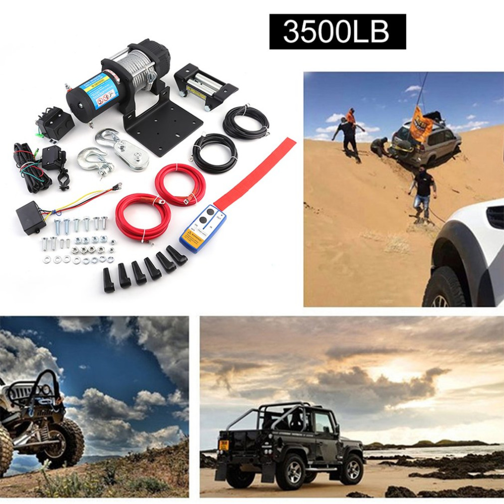 Newest Load Capacity Up To 3500lb Practical Electric Winch With Remote Control Car Auto Lift Winch Accessories For ATV Offroad