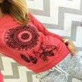 2016 Nova Moda Primavera Outono Manga Comprida Camisas Apanhadores de Sonho Hoodie Casual Sexy Camisas Das Mulheres T Camisa Camisetas Feminina Tee