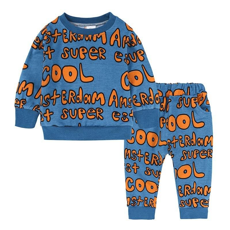 Fashion Kids Girl Boy Clothing Sets Long Sleeve French Fries Printed Sweatshirt +Long Pants 2pcs Outfits Children Clothing Set