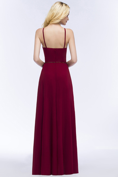 24 Hours Shipping Crystals Belt Burgundy Prom Dresses Long Vestido De Festa Sexy Backless Halter Neck Evening Party Dresses 2
